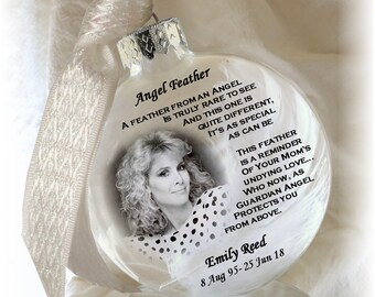 Angel Feather from Heaven Photo Ornament Keepsake on Frosted Translucent Paper  Real Angel Feather!- Large Over 3 Inches