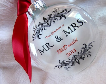 MR & MRS Christmas Name of Groom Custom First Married Christmas Wedding Glass Ornament Keepsake Large Over 3 Inches Like Etched Glass