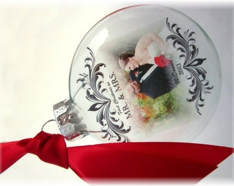 MR & MRS Custom First Christmas Wedding Holiday Glass Photo Ornament Keepsake - Large Over 3 Inches Looks Like Thin Vellum or Etched Glass