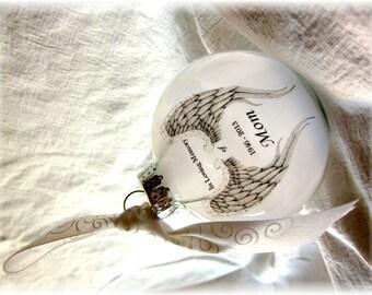 In Loving Memory Memorial Angel Wings Memorial Ornament For Mom / Dad / Name/ Custom