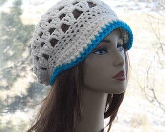 a5e72381bba Womens Newsboy Hat Brim Beanie Hand Crochet Brim Beanie Newsboy Cap