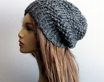 149096426a7 Women Hat Wool Slouchy Hat Knit Chunky Wool Alpaca Hat Winter Beanie Womens  Teens Hat Adult Accessories in Grey