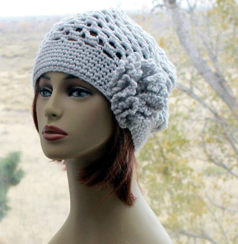 Womens Hat Crochet Beanie Hat With Flower Chemo Hat All Etsy