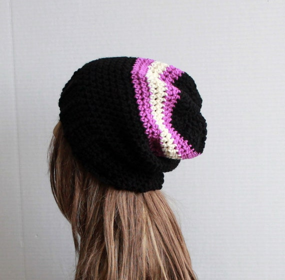 d7408b88fdc Unisex Slouchy Hat Winter Crochet Beanie Adult Striped