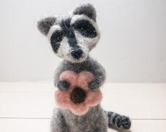 Needle Felted Raccoon, Needle Felted Animal, Felt Animals, Raccoon Art, Little Wool Pet, Woodland Animal Decor,  needle felt, Felted Animals