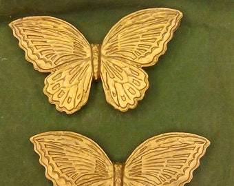 Pair Vintage Gold Butterflies