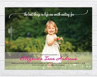 Worth Waiting For Adoption Announcement Card, Personalized Gender Neutral Adoption Announcement, Printable Adoption Announcements Photo Card