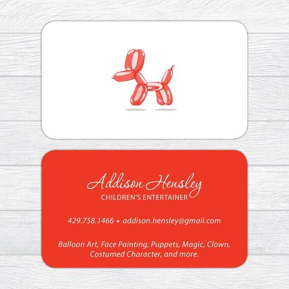 Balloon twister business cards clown business cards party etsy balloon twister business cards clown business cards party entertainer business cards children entertainer business card kid calling card colourmoves