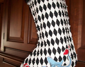 One (1) Amazing  Black and White Pearl Beaded Designer Grinch Christmas Stocking 2018 Collection