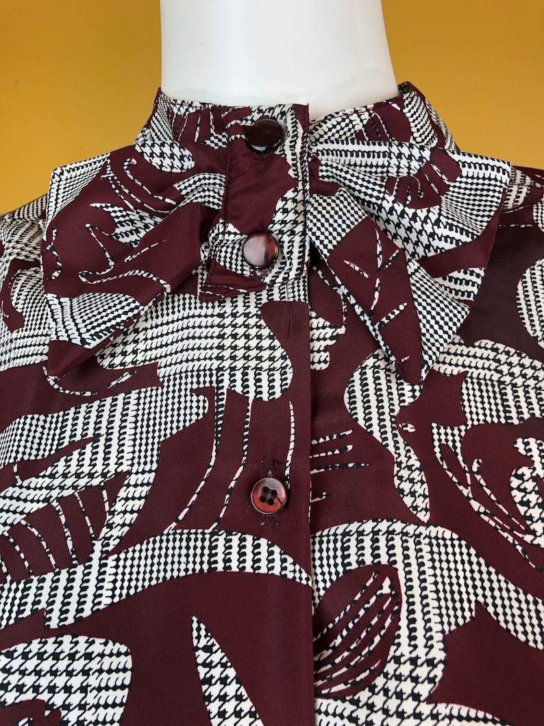 Vintage 1980s Haberdashery Burgundy Black and White Printed Blouse Plus Size 24W New Tag Attached