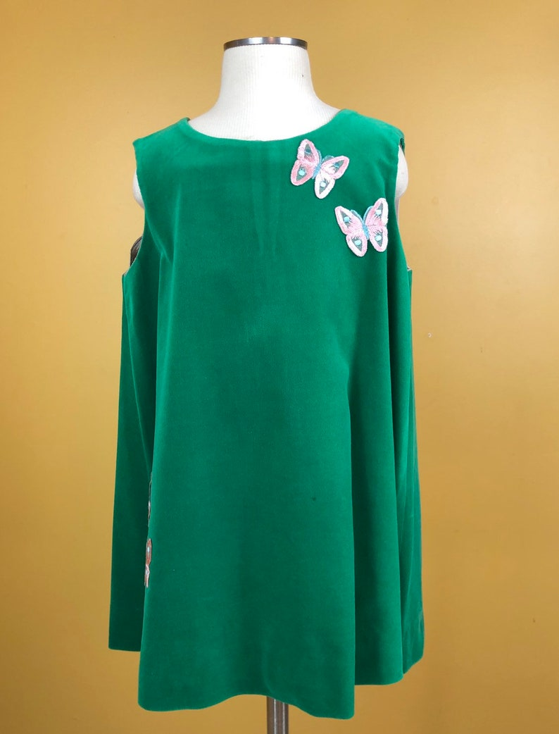Vintage 1980s Girls Green Velour Sleeveless Dress with Pink Butterflies