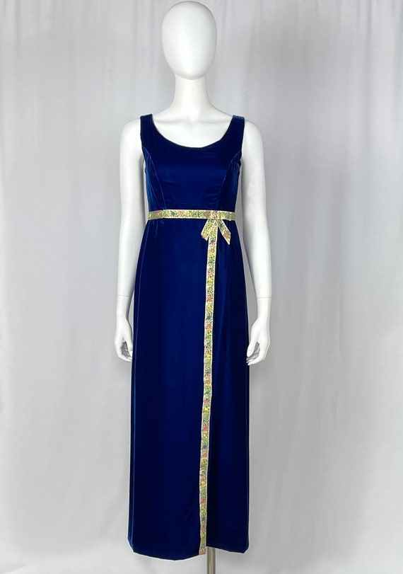 Vintage 1960s Blue Velvet Sleeveless Gown