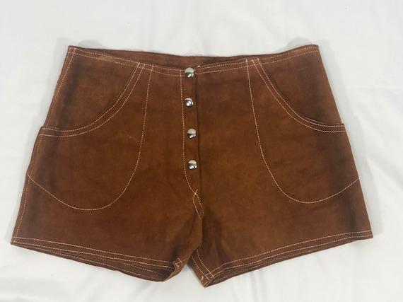 Vintage 1980s Cognac Brown Suede Shorts