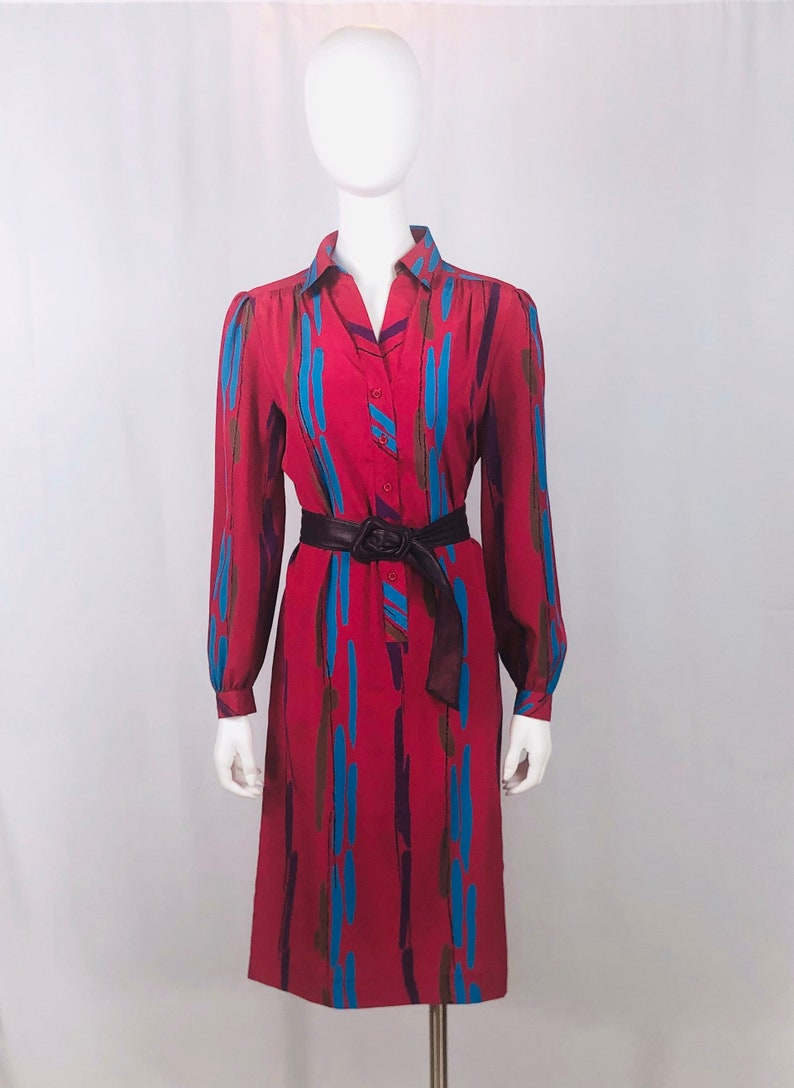 Vintage 1980s Schrader Sport Deep Pink Abstract Print Dress