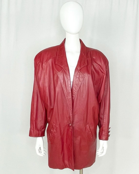 Vintage 1980s Commit Red Leather Jacket Plus Size