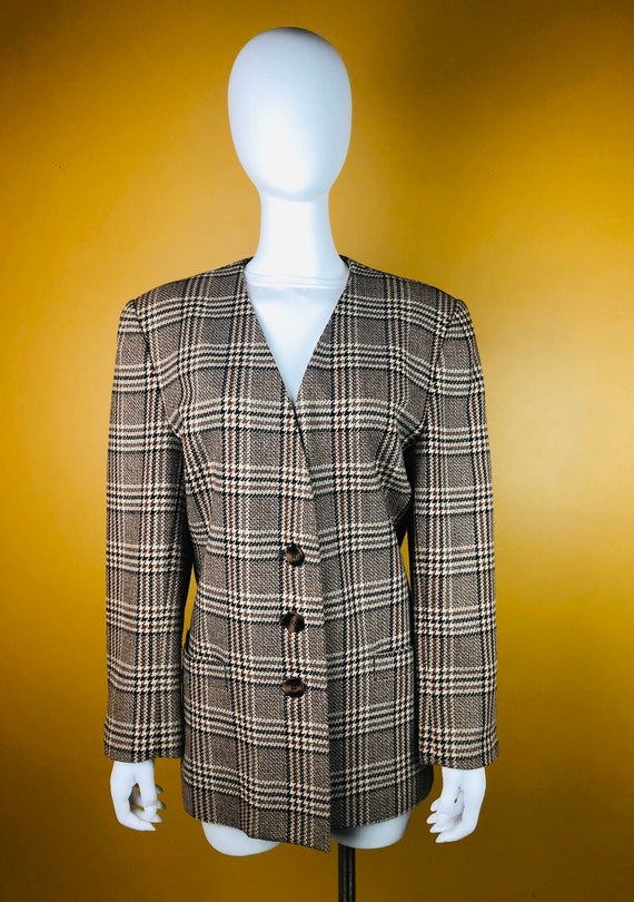 Vintage 1980s Le Suit Brown Plaid Plus SIze Blazer