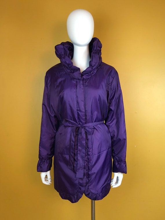 Vintage 1980s Purple Puffer Car Coat Size Large
