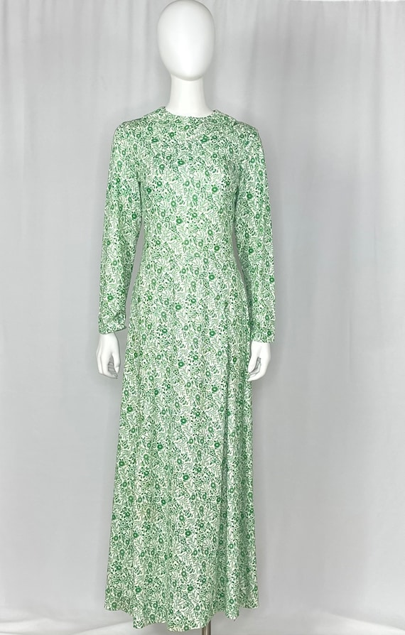 Vintage 1960s Green and White Floral Gown