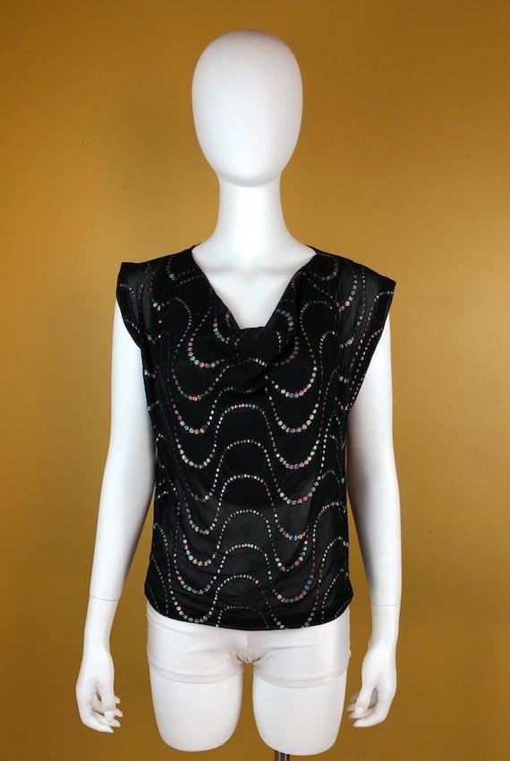 Vintage 1980s Black Sheer Blouse with Rainbow Meta