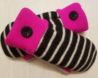 Hot Pink and Black Striped Mittens, Women's Mittens, Warm Mittens, Sweater Mittens, Recycled Sweaters, Lined Mittens, Mittens for Women