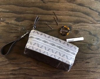 wool and leather wristlet