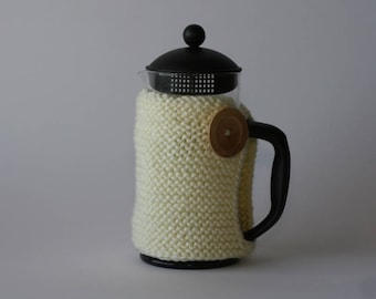 French press cozy in cream