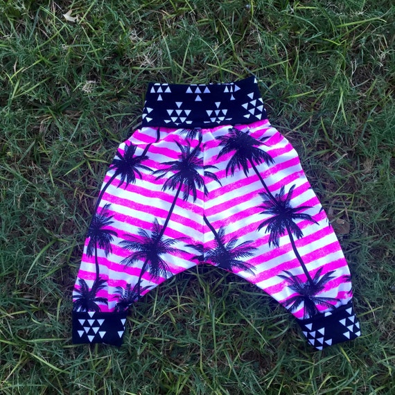 Childrens unisex pink palm tree harem pants (size 6 months to 4 years)