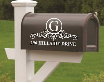 Mail Box Decal, Door Sign, Scroll Monogram, Mailbox Sign, Vinyl Wall Lettering, Vinyl Wall Decals, Vinyl Decals, Vinyl Lettering