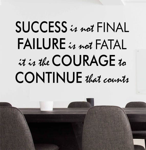 success failure courage to continue decal office wall decor | etsy