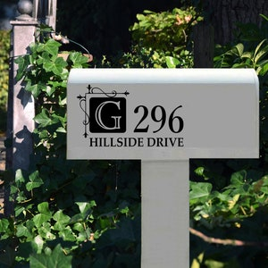 Personalized Mailing Address Decal Mailbox Decal Decorative Vines Leaves New Home Housewarming Gift Custom Vinyl Lettering Mail Box