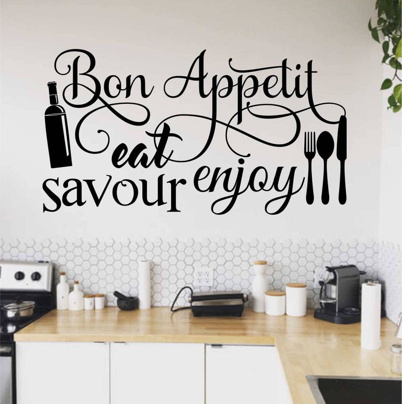 Bon Appetit Kitchen Word Collage, Kitchen Wall Decal, Kitchen Decor, Vinyl  Wall Lettering, Vinyl Wall Decals, Vinyl Letters, Wall Quotes
