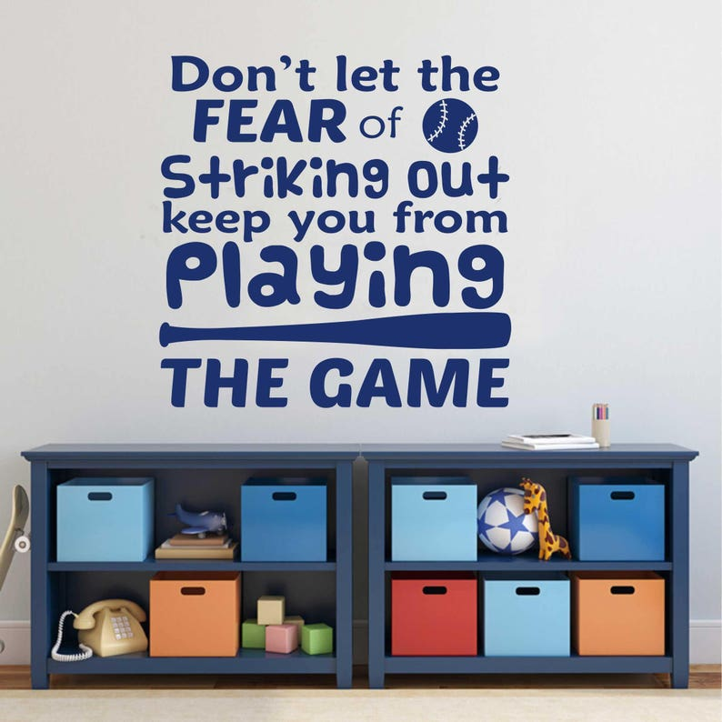 Fear Of Striking Out Baseball Quote Sports Decal Vinyl Wall Etsy