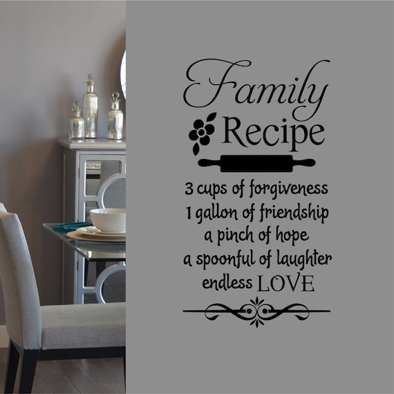 Family Recipe Kitchen Decor Vinyl Wall Lettering Vinyl
