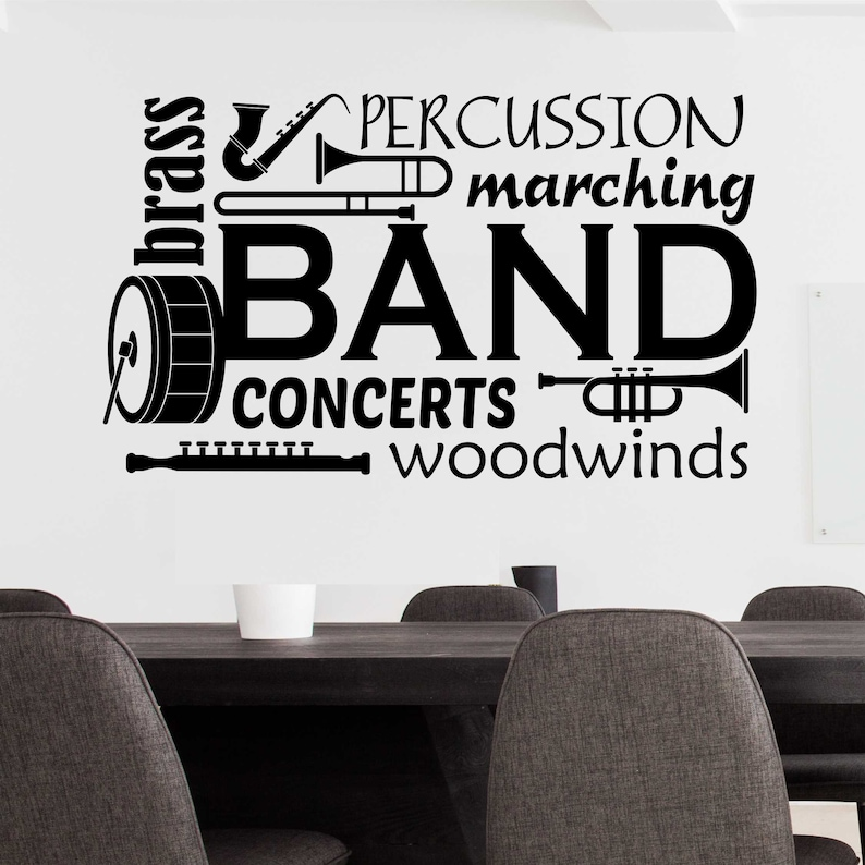 School Band Word Collage Band Class Decal Vinyl Wall  3fd7f74c6c2b
