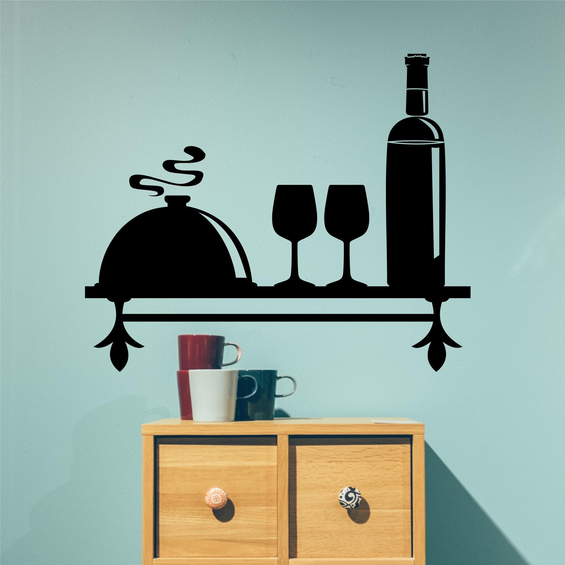 Decorative Faux Shelf Decal Kitchen Wall Decor Wine Theme   Etsy