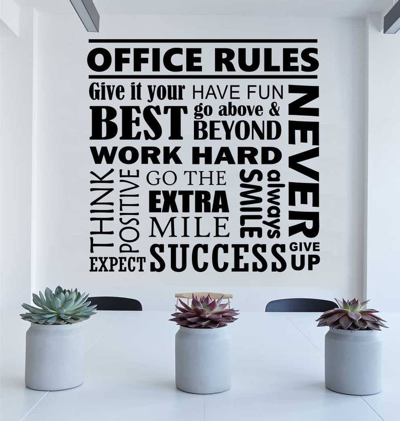 Office Rules Decal Office Wall Quote Break Room Decor