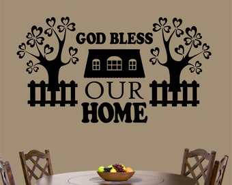 God Bless Our Home, Vinyl Wall Lettering, Vinyl Wall Decals, Vinyl Decals, Vinyl Lettering, Wall Decals, Family Decal, Home Decal