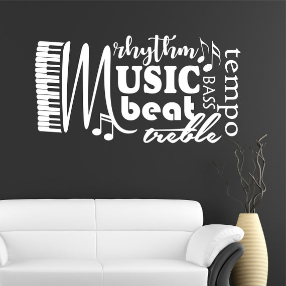 music word collage musical quote vinyl wall lettering vinyl | etsy
