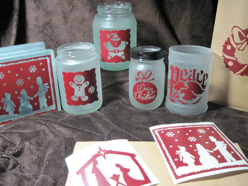 Holiday Vinyl Decals Glass Block Decals 5 inch Decals Six Christmas Decals for Luminaries Christmas Decoration DIY Luminary Stickers