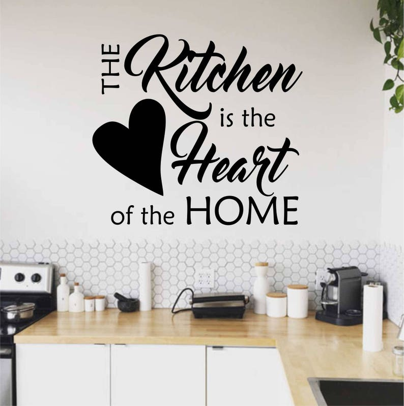 KITCHEN IS THE HEART OF THE HOME WORDS LETTERING VINYL DECOR DECAL WALL STICKER