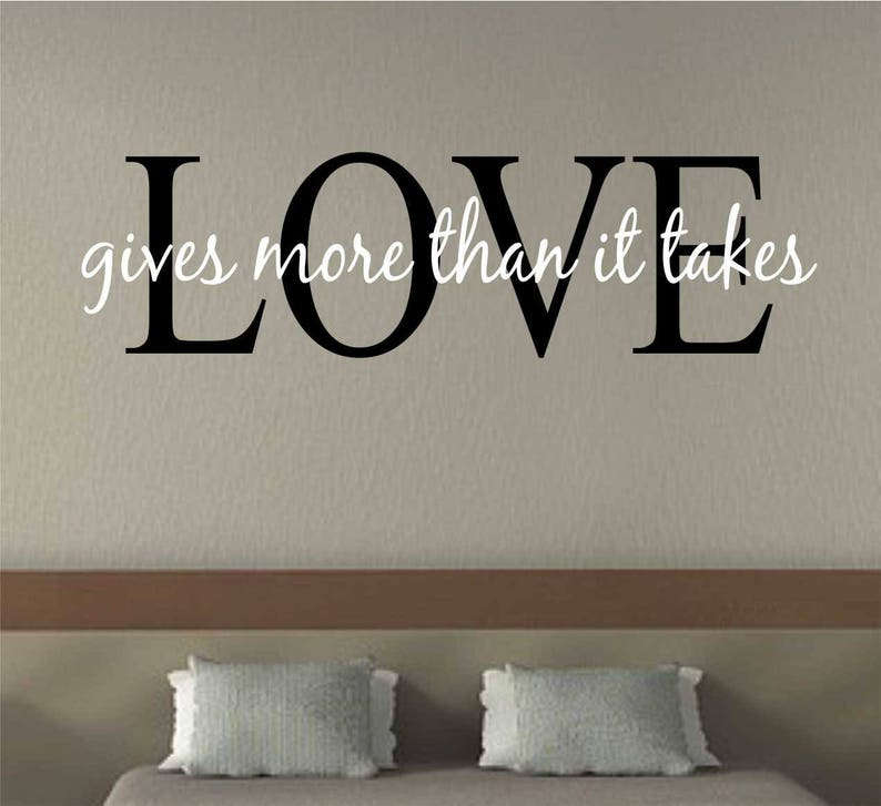 love gives more quote vinyl wall lettering vinyl wall | etsy