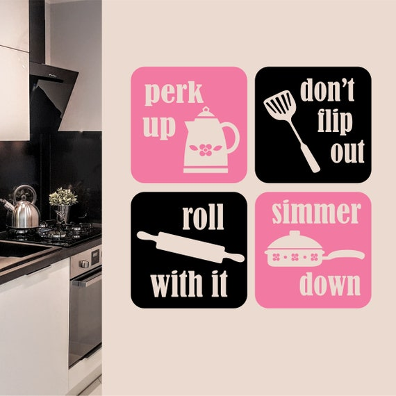 perk up simmer down kitchen wall decal kitchen decor | etsy