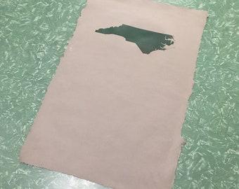 North Carolina relief printed on handmade cotton rag paper