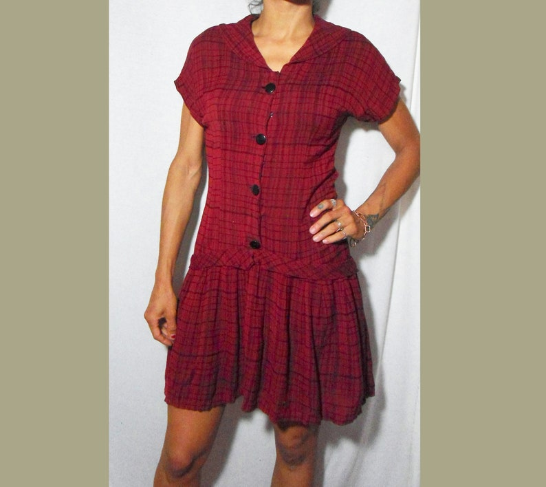 M Dreamy Red Plaid Dress