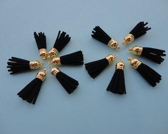 20pcs Green Flash Tassel Pendant with Gold Top Fringe Tassel,Faux Leather,Tassel charm pendant -38x10mm.
