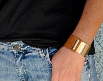 Gold Bracelet - Leather Bracelet - Stackable Bracelet - Wide Bracelet - Bangle Bracelet - Statement Bracelet - Boho Bracelet - Gift For Her