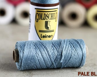 Pale Blue linen thread, 3-ply, Nel 18/3, 0.65mm thick, non-waxed, 1 spool 25g 90m