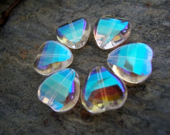 Heart Glass Beads, Czech Glass Fire Polished Beads, Facetted Heart Beads, 12mm, Clear Crystal with Iridescent AB half Coating (12pcs)