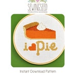 I love Pie Cross Stitch Pattern Instant Download, Thanksgiving
