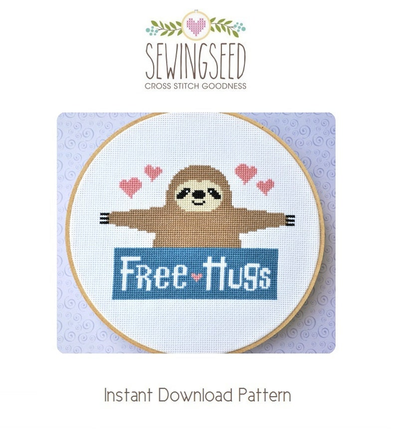 Cross Stitch Pattern Sloth Free Hugs Counted Cross Stitch image 0